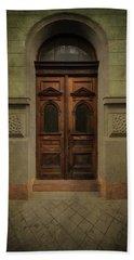Old Ornamented Wooden Gate In Brown Tones Beach Towel by Jaroslaw Blaminsky