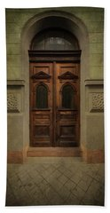 Old Ornamented Wooden Gate In Brown Tones Beach Sheet by Jaroslaw Blaminsky
