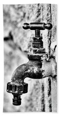 Old Outdoor Tap - Black And White Beach Sheet