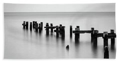 Old Pilings Black And White Beach Towel