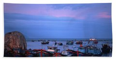 Old Port Of Nha Trang In Vietnam Beach Towel