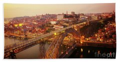 old Porto at  Pink Sunset, Portugal Beach Towel