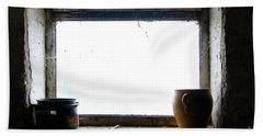 Old Pots And Stoneware Jar On Window Beach Towel