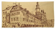 Old Poznan Drawing Beach Towel