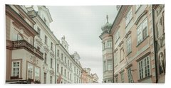 Beach Sheet featuring the photograph Old Prague Buildings. Staromestska Square by Jenny Rainbow