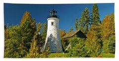 Old Presque Isle Lighthouse_9488 Beach Sheet by Michael Peychich