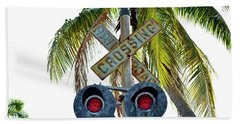 Old Railroad Crossing Sign Beach Towel