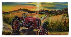 Beach Towel featuring the painting Old Red At Sunset - Tractor by Jan Dappen