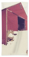 Beach Towel featuring the photograph Old Red Barn In Winter by Edward Fielding