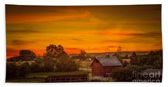 Old Red Barn Beach Towel by Robert Bales