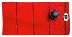 Old Red Door  Beach Towel