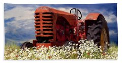 Old Red Tractor Beach Towel
