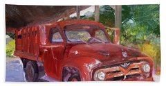 Beach Towel featuring the painting Old Red Truck - Mountain Valley Farms - Ellijay by Jan Dappen