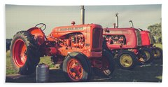 Old Red Vintage Tractors Prince Edward Island  Beach Sheet by Edward Fielding
