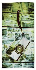 Old Retro Film Camera In Creative Composition Beach Towel