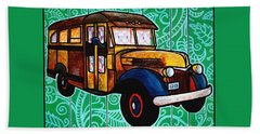 Old Rusted School Bus With Quilted Windows Beach Towel