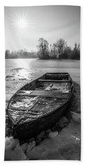 Old Rusty Boat Beach Sheet