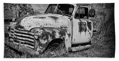 Beach Towel featuring the photograph Old Rusty Chevy In Black And White by Paul Ward