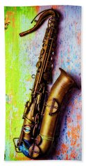 Old Sax On Worn Table Beach Towel by Garry Gay