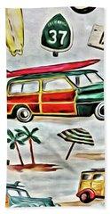 Old School Beach Time Beach Towel
