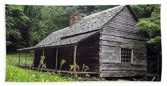 Old Settlers Cabin Smoky Mountains National Park Beach Towel