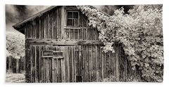 Old Shed In Sepia Beach Sheet by Greg Nyquist