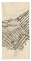 Old Sheet Music Map Of Ohio Beach Towel