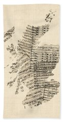 Old Sheet Music Map Of Scotland Beach Towel