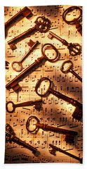 Old Skeleton Keys On Sheet Music Beach Towel