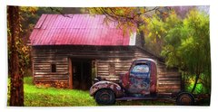 Beach Sheet featuring the photograph Old Smoky Truck And Barn by Debra and Dave Vanderlaan