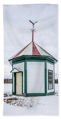 Old Spring House With Weather Vane In The Snow Beach Towel