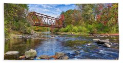 Beach Towel featuring the photograph Old Steel Truss Train Bridge Newport New Hampshire by Edward Fielding