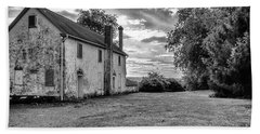 Old Stone House Black And White Beach Sheet