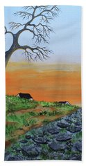 Beach Towel featuring the painting Old Stone Trail by Jack G Brauer