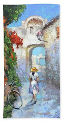 Beach Towel featuring the painting Old Street  by Dmitry Spiros
