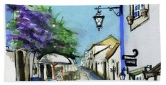 Beach Towel featuring the painting Old Street In Obidos, Portugal by Dora Hathazi Mendes