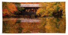 Beach Towel featuring the photograph Old Sturbridge Village Covered Bridge by Jeff Folger