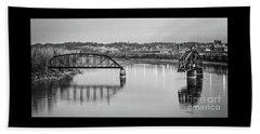 Old Swing Bridge Trestle In Bw Beach Sheet