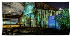 Beach Towel featuring the photograph Old Tacoma Industrial Building Light Painted by Rob Green