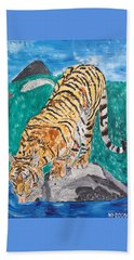 Old Tiger Drinking Beach Towel by Valerie Ornstein