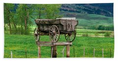 Old Time Freight Wagon In Montana Beach Sheet by Wernher Krutein