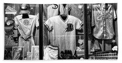 Old Timers Baseball League Black White  Beach Towel