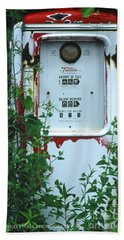 6g1 Old Tokheim Gas Pump Beach Towel