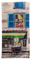 Beach Towel featuring the painting Old Town Cafe by John Williams