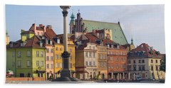 Old Town Square Zamkowy Plac In Warsaw Beach Towel