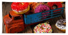 Old Toy Truck And Donuts Beach Sheet by Garry Gay