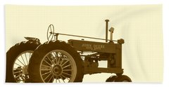 Old Tractor IIi In Sepia Beach Towel by JD Grimes