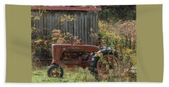 Old Tractor On The Farm. Beach Towel