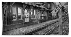 Old Train Station With Crossing Sign In Black And White Beach Towel