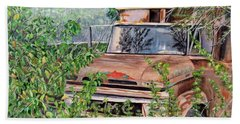 Old Truck Rusting Beach Towel